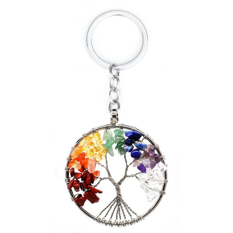 Colorful Tree Shaped 7 Chakra Stones Pendulum Amulet