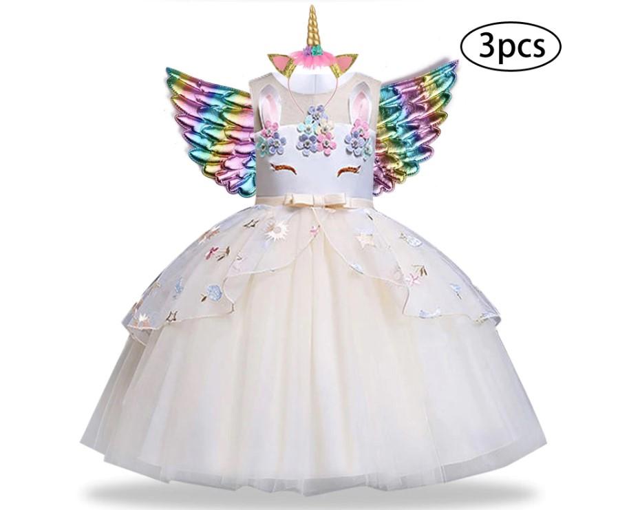 Girl's Unicorn Dress with Headband and Wings 3 Pcs Set