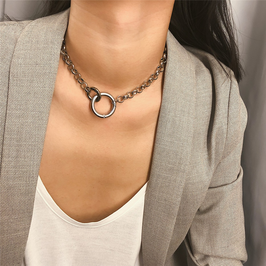 Choker Necklaces with Circle Shaped Pendants