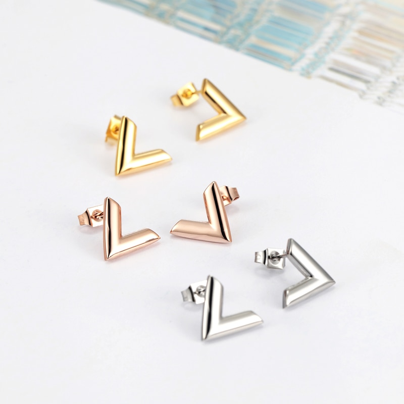 Men's Titanium Steel V Shaped Stud Earrings
