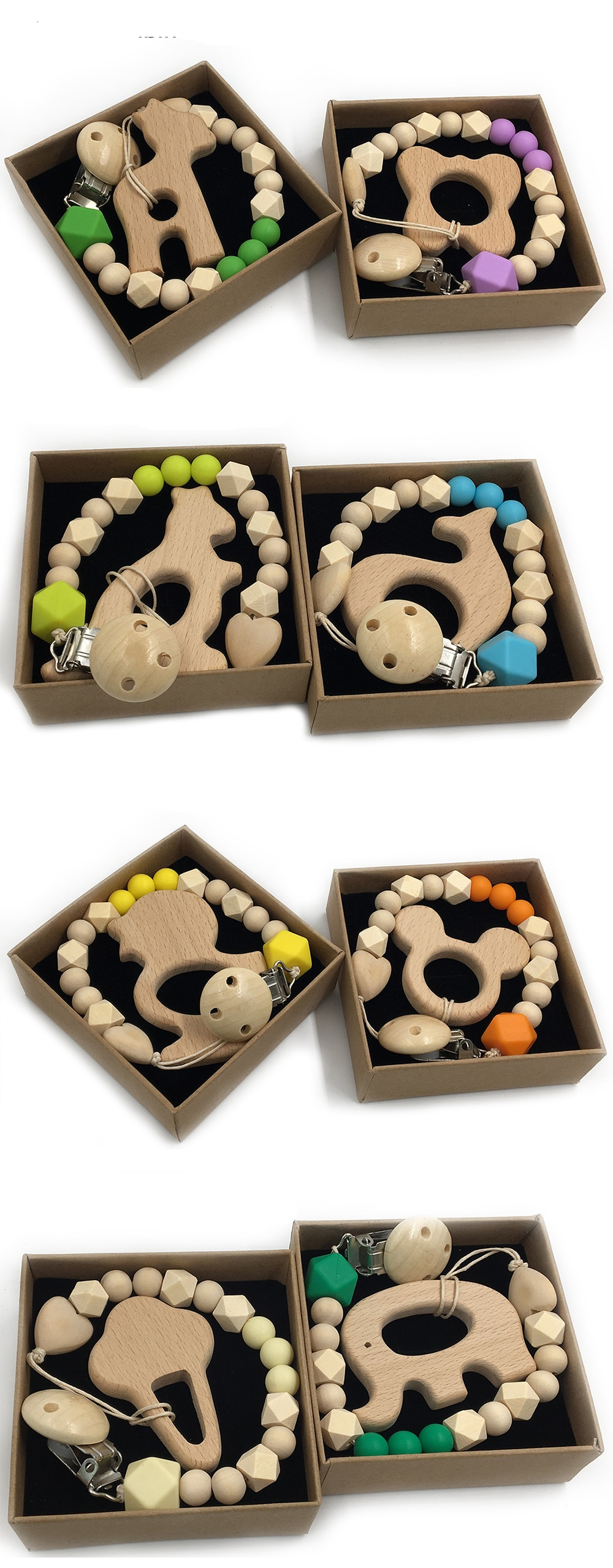 Animal Shaped Organic Wood Baby Teether with Grasping Toy 2 pcs Set