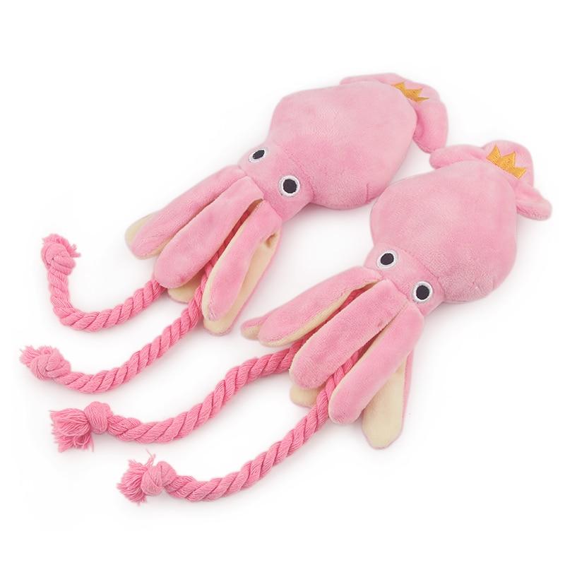 Plush Pink Squid Dog Toy