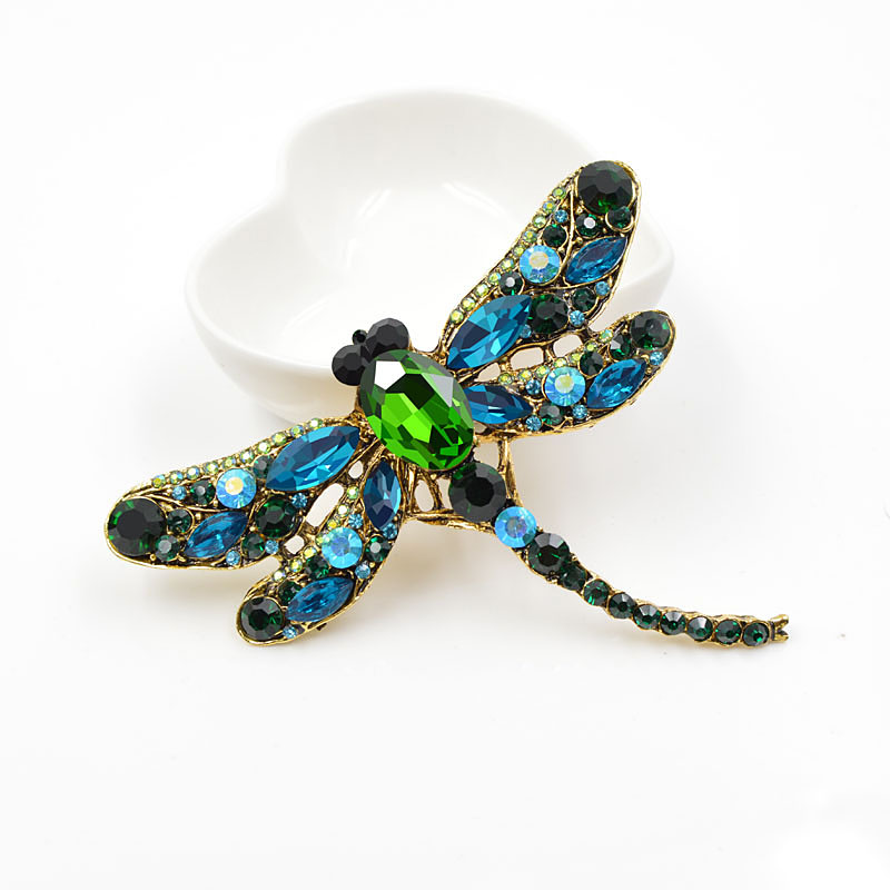 Women's Crystal Vintage Dragonfly Shaped Brooch